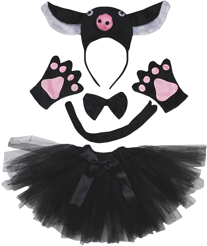Petitebella 3D Pig Headband Bowtie Tail Gloves Pink Tutu 5pc Children Costume