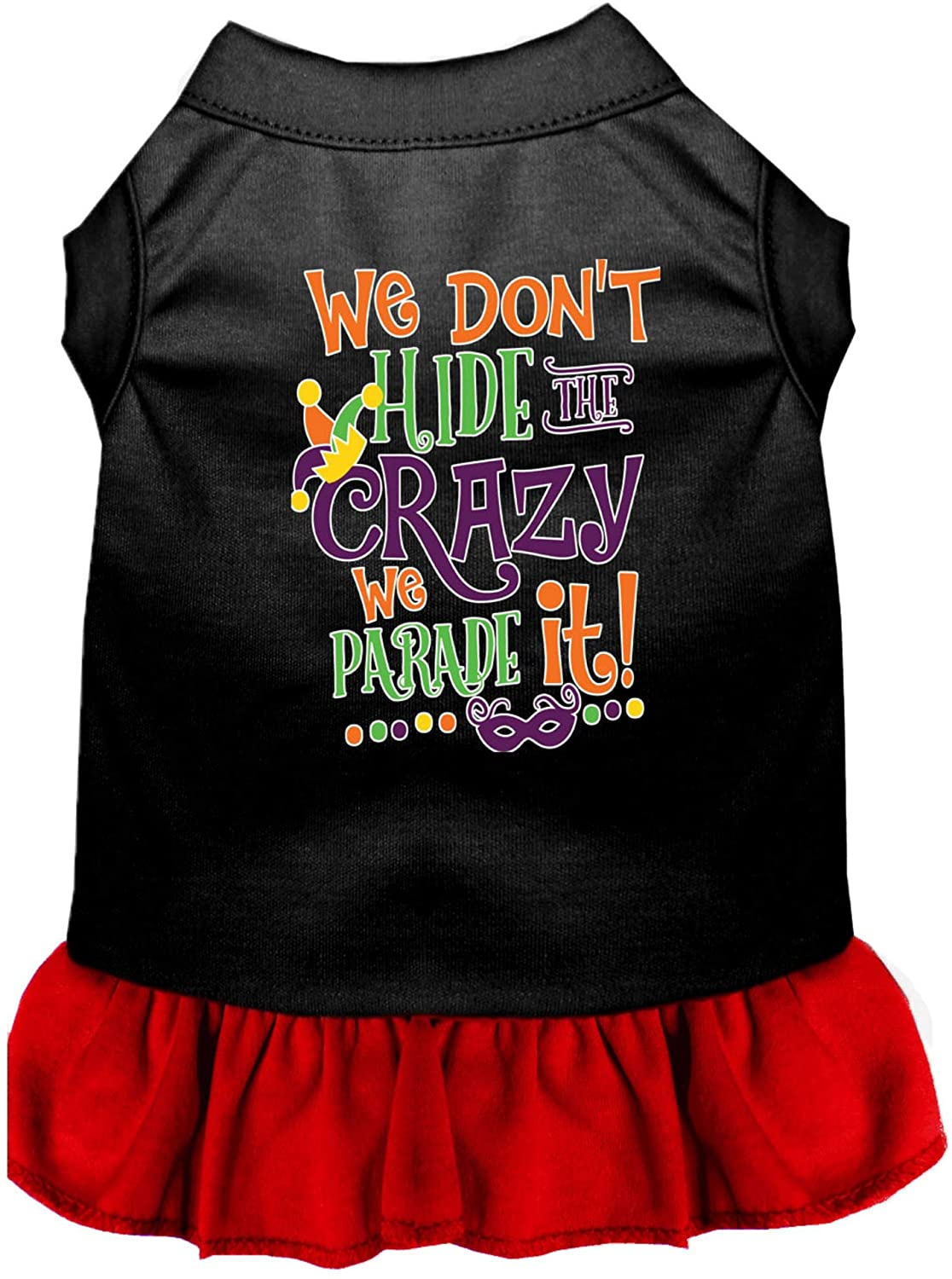 Mirage Pet Product We Don't Hide The Crazy Screen Print Mardi Gras Dog Dress Black with Red XXL