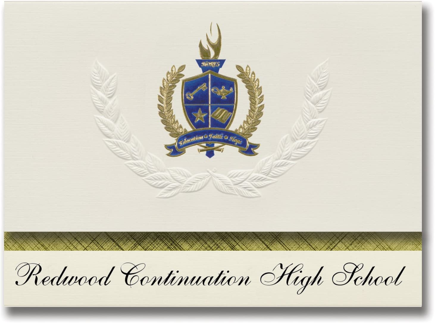 Signature Announcements Redwood Continuation High School (Castro Valley, CA) Graduation Announcements, Presidential Elite Pack 25 with Gold & Blue Metallic Foil seal