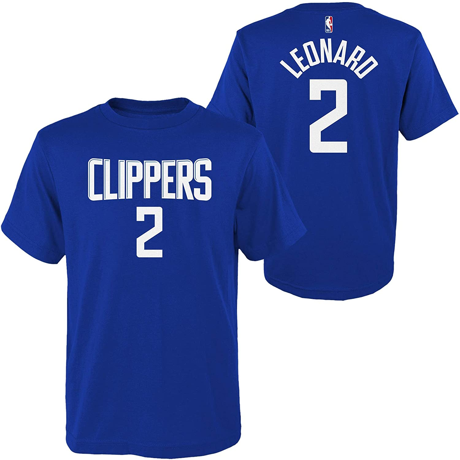 OuterStuff Kawhi Leonard Los Angeles Clippers #2 Youth Player Name & Number T-Shirt Blue (Medium 10/12)
