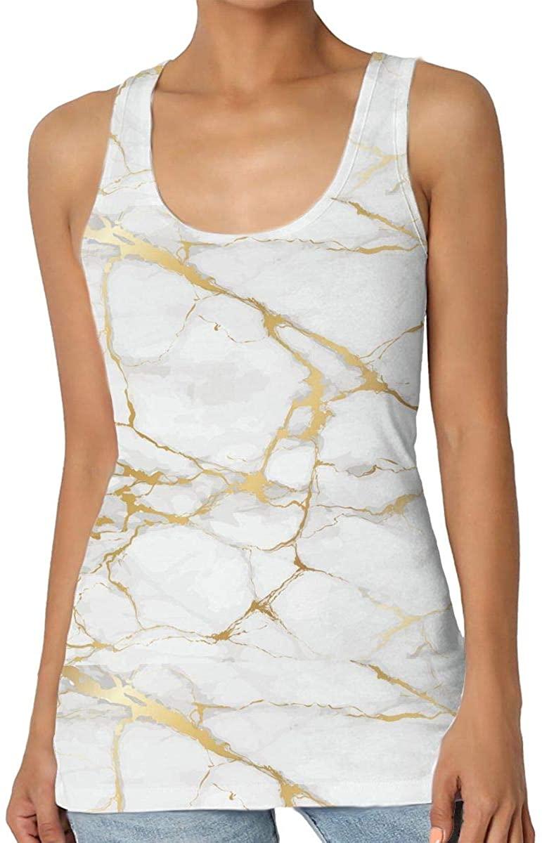 Golden Line Marble Women'Stank Top Soft Ladies Scoop Neck Sleeveless Gym Sports Blouse Shirts
