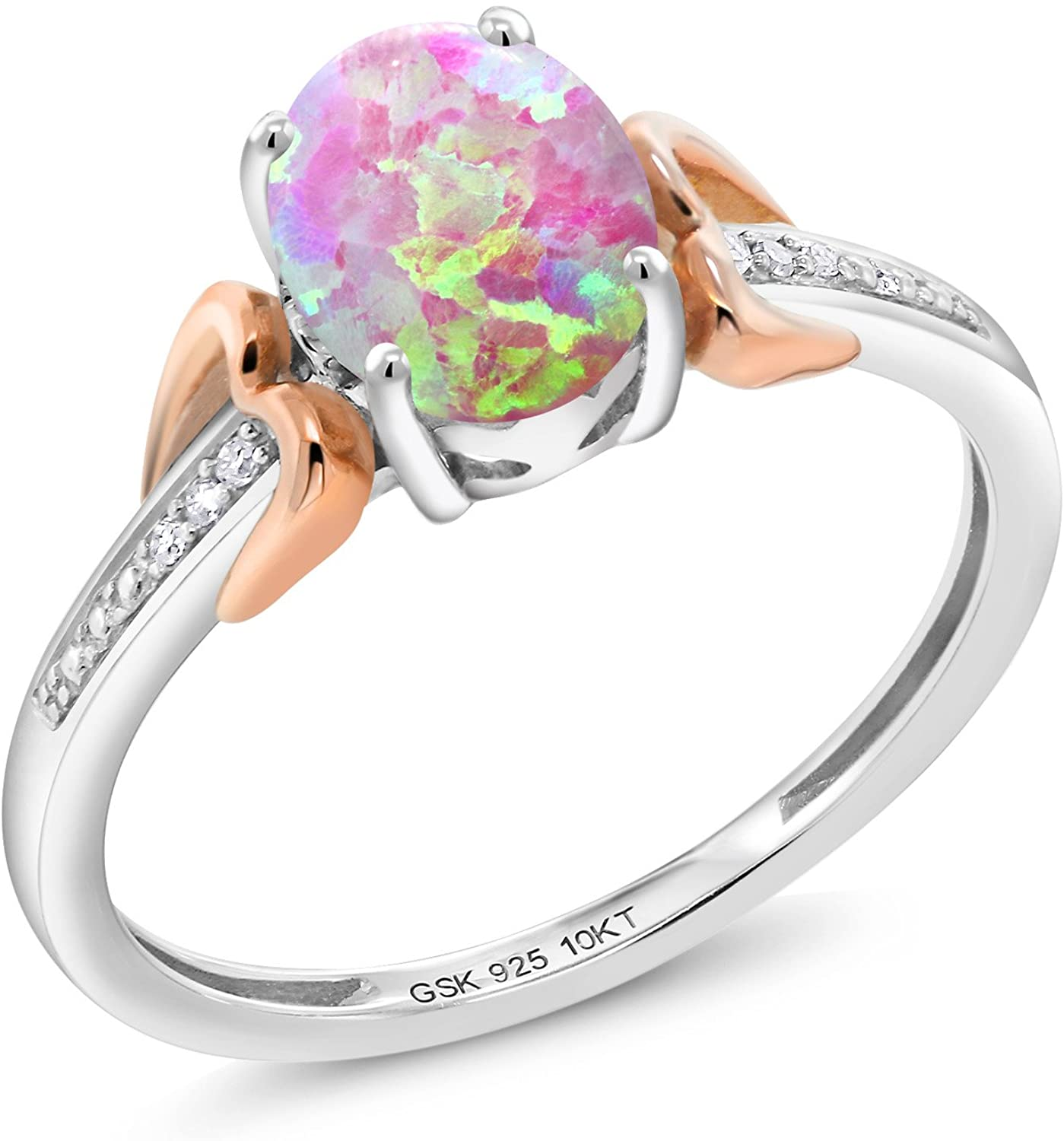 Gem Stone King 1.05 Ct Oval Cabochon Pink Simulated Opal 925 Silver With Diamond 10K Rose Gold Engagement Ring