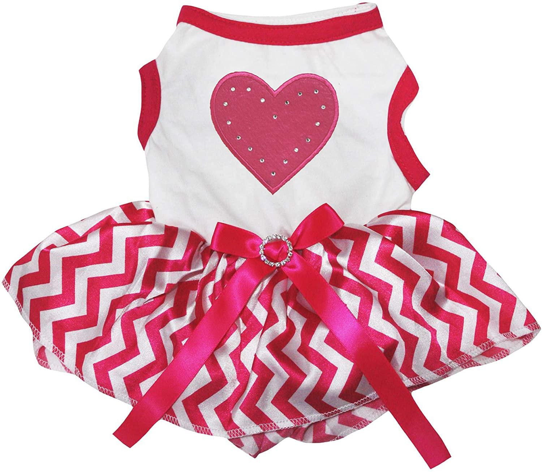 Petitebella Puppy Dog Clothes Pink Heart Top Hot Pink White Chevron Dress