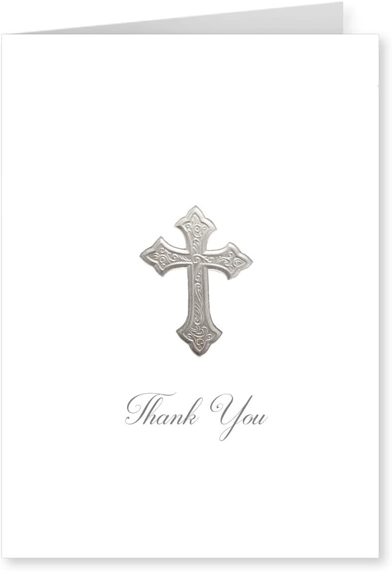 Faux Designs Cross Thank You Silver Foil Embossed Blank Folded Note Card Set of 8 on white stock with envelopes