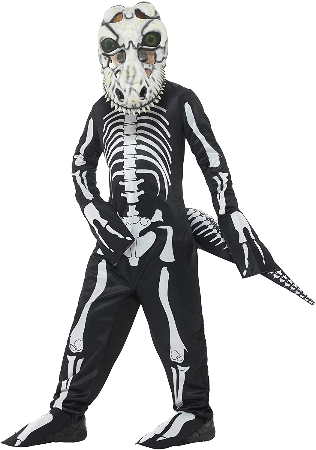 Smiffys Deluxe T-Rex Skeleton Costume, Black, Medium