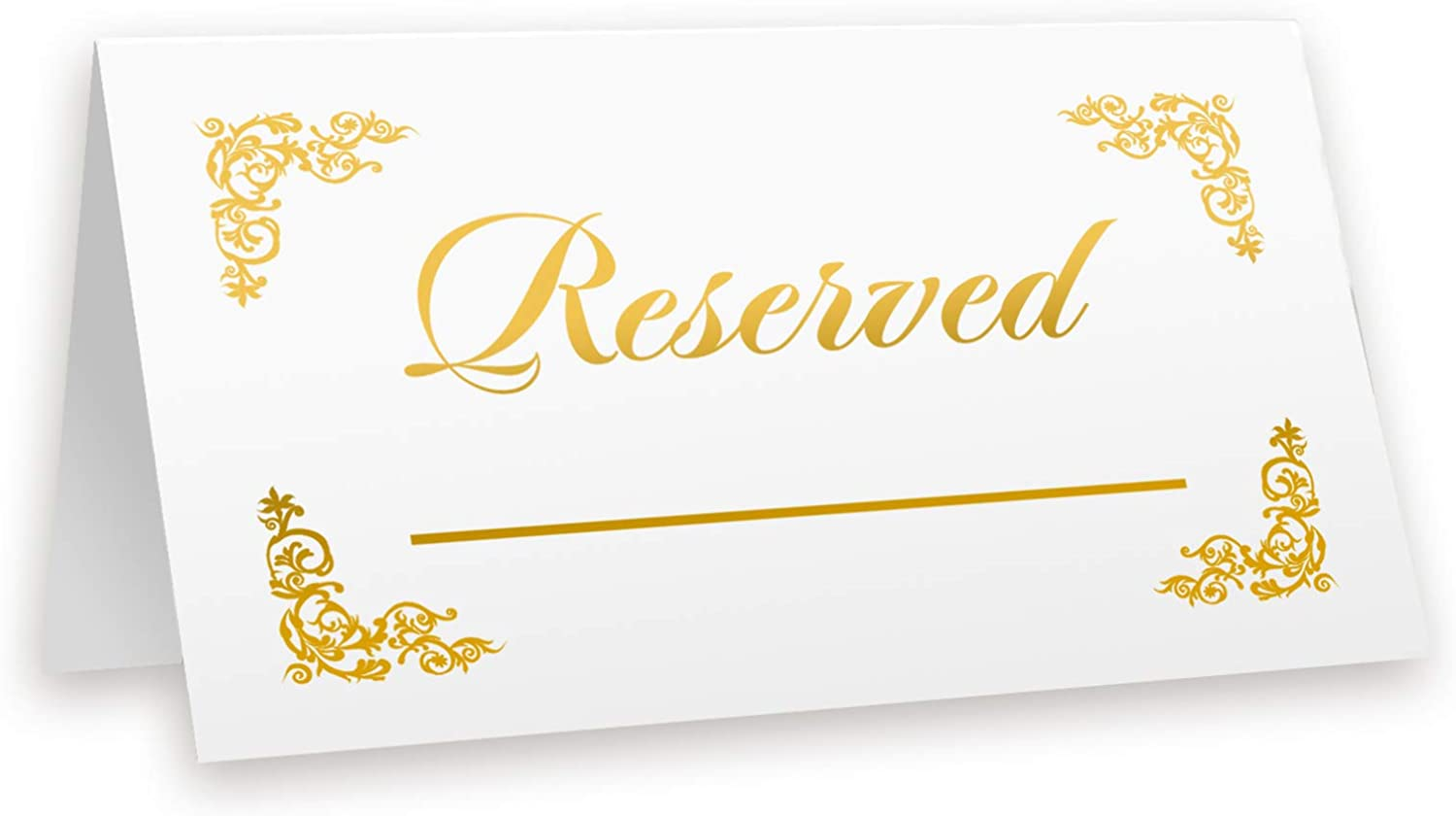 Reserved Cards Gold Foil, 20-Pack Table Tent, VIP Place Card with Line to Write, Double Sides (Place Card Reserved Gold)