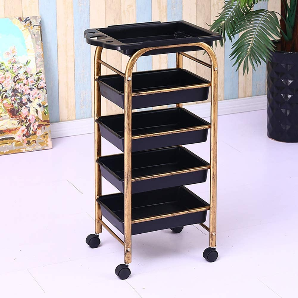 LHF Medical Supplies Rack,Hospital Trolley,Medical Cart Tool 5 Tier Beauty Salon Cart with Drawer & Hair Dryer Holder, Hairdresser Utility Cart with Wheel, Medical Equipment Trolley for 15 Kg Load