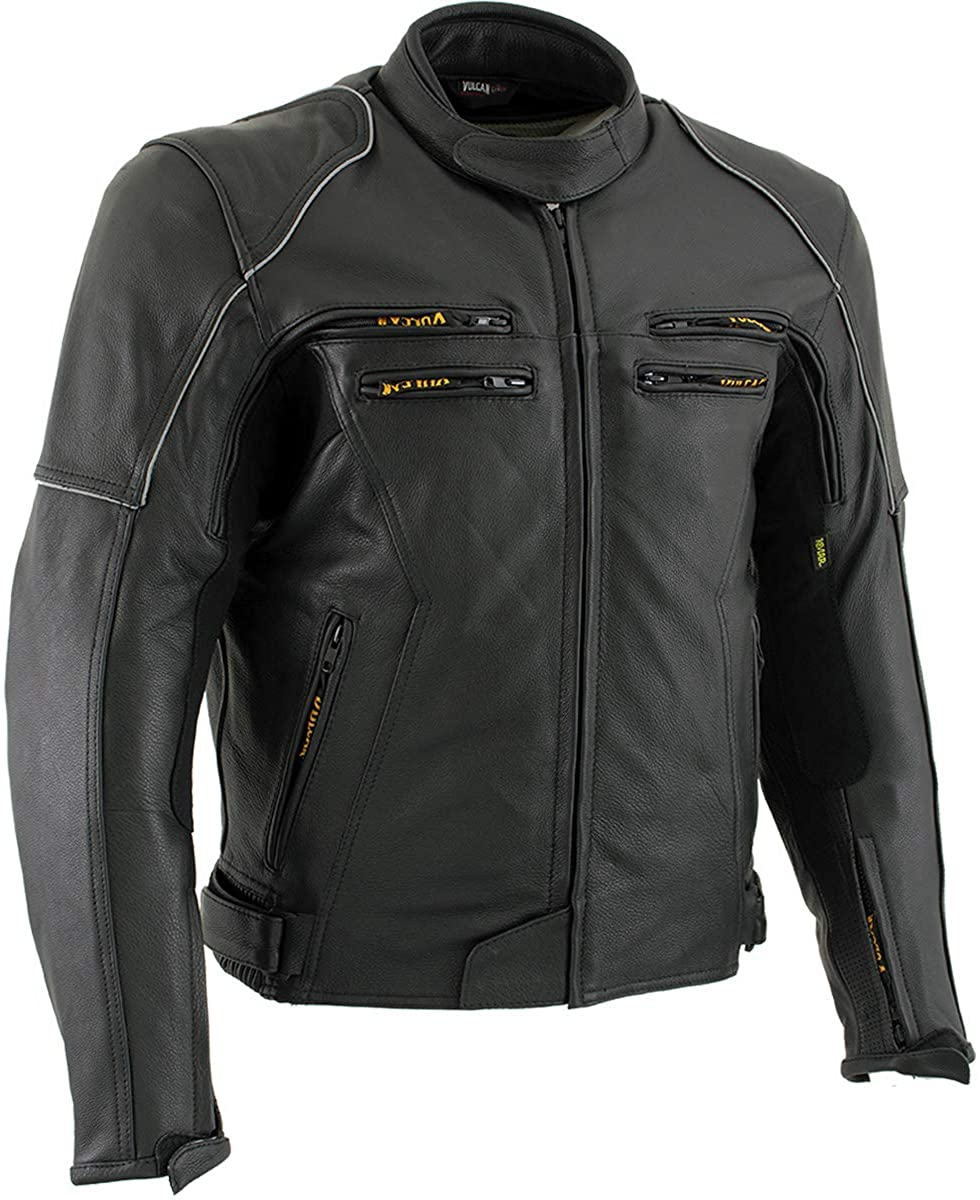 Vulcan VNE98431 'Ace' Men's Black Leather Armored Motorcycle Jacket - Small