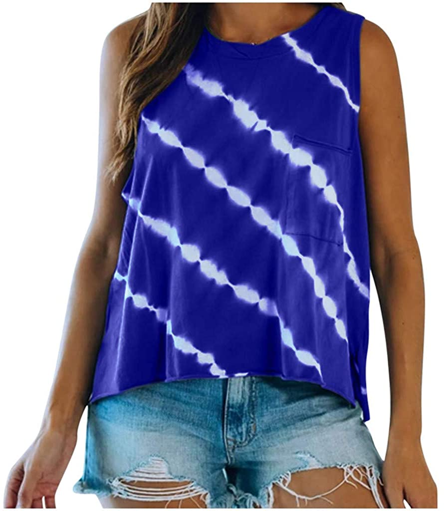 Mlide Casual Tank Tops Summer Fashion Tie Dye Loose Blouse Stripe Pullover T-Shirt Tee Top