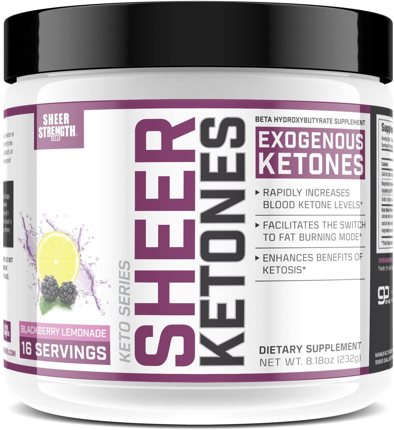 High Potency BHB Salts ~ Exogenous Ketones Formulated to Burn Fat, Boost Energy & Jumpstart Ketosis Fast | BlackBerry Lemonade Beta Hydroxybutyrates | Sheer Strength Labs, 8.11 oz - Packaging May Vary