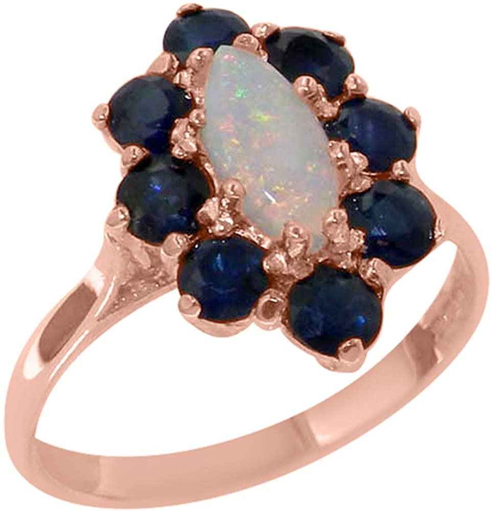 9k Rose Gold Real Natural Opal & Sapphire Womens Engagement Ring - Size 8