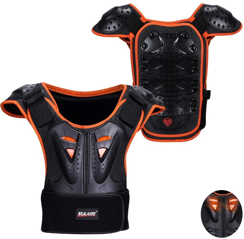 Kids Sports Chest Back Spine Protector Vest, MLSice Children Anti-Fall Protective Gear Motorcycle Jacket Motocross Body Guard Vest for Cycling Skiing Riding Skateboarding