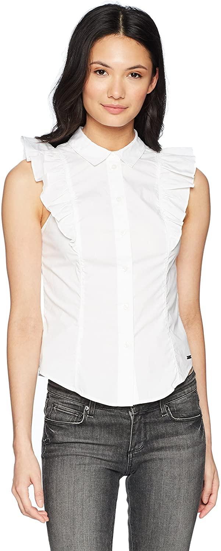 AX Armani Exchange Women's Frill Sleeveless Button Up