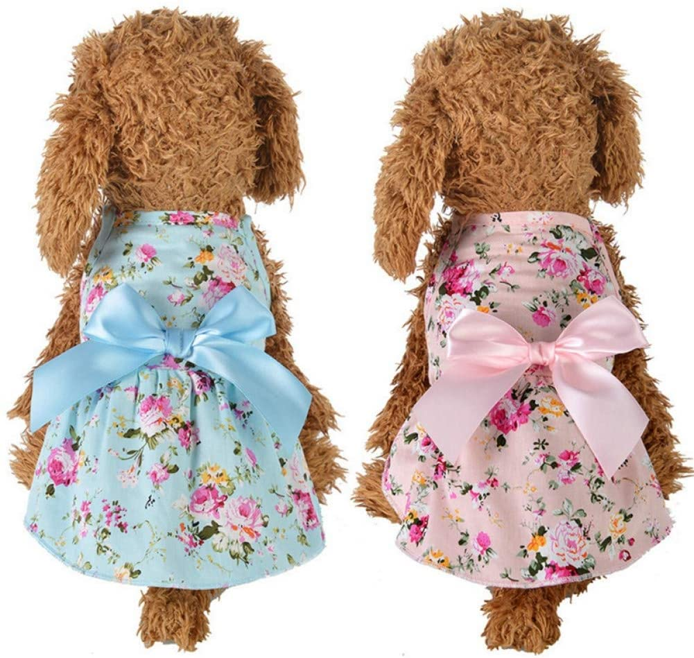 SDLJKSNF Clothes for Pets Dog Floral Big Bow Sleeveless Dresses Pet Dog Wedding Dress for Chihuahua Pug Yorkie Clothing Puppy Cat Supplies