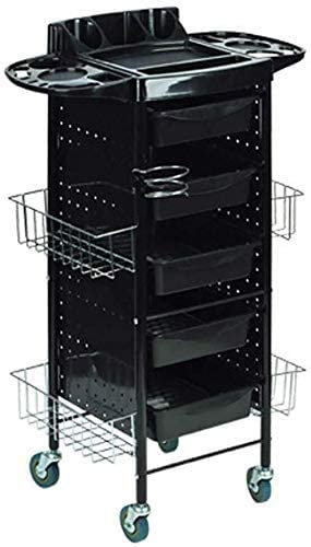 GSF Carts,Beauty Salon Cart with Drawers, with Hair Dryer Holder Hanging Basket,Medical Cart Tool 6 Tier, 50 Kg Capacity, Hairdresser Utility Tools Cart,4 Basket