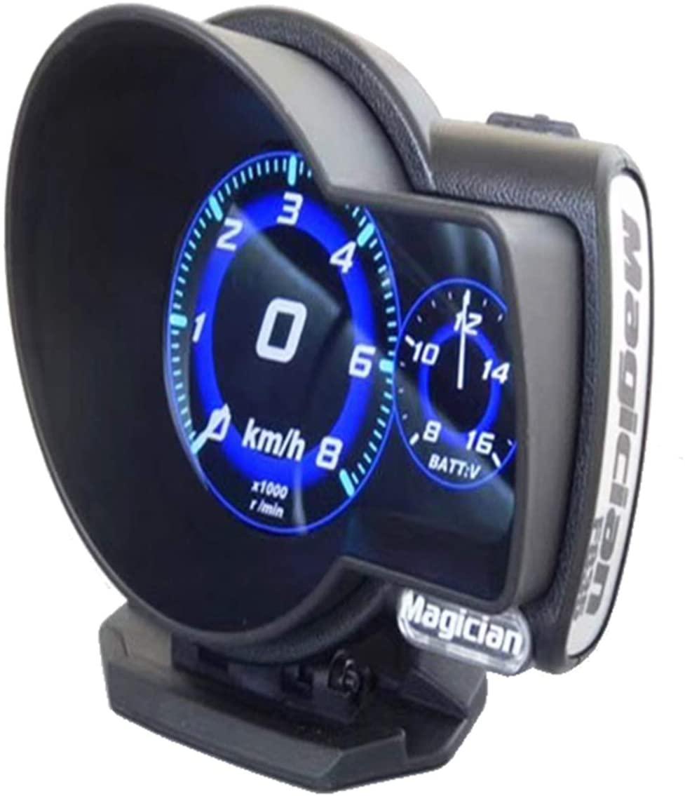 Magic car OBD multi-function LCD instrument head-up display turbine table tachometer oil temperature meter water temperature meter universal