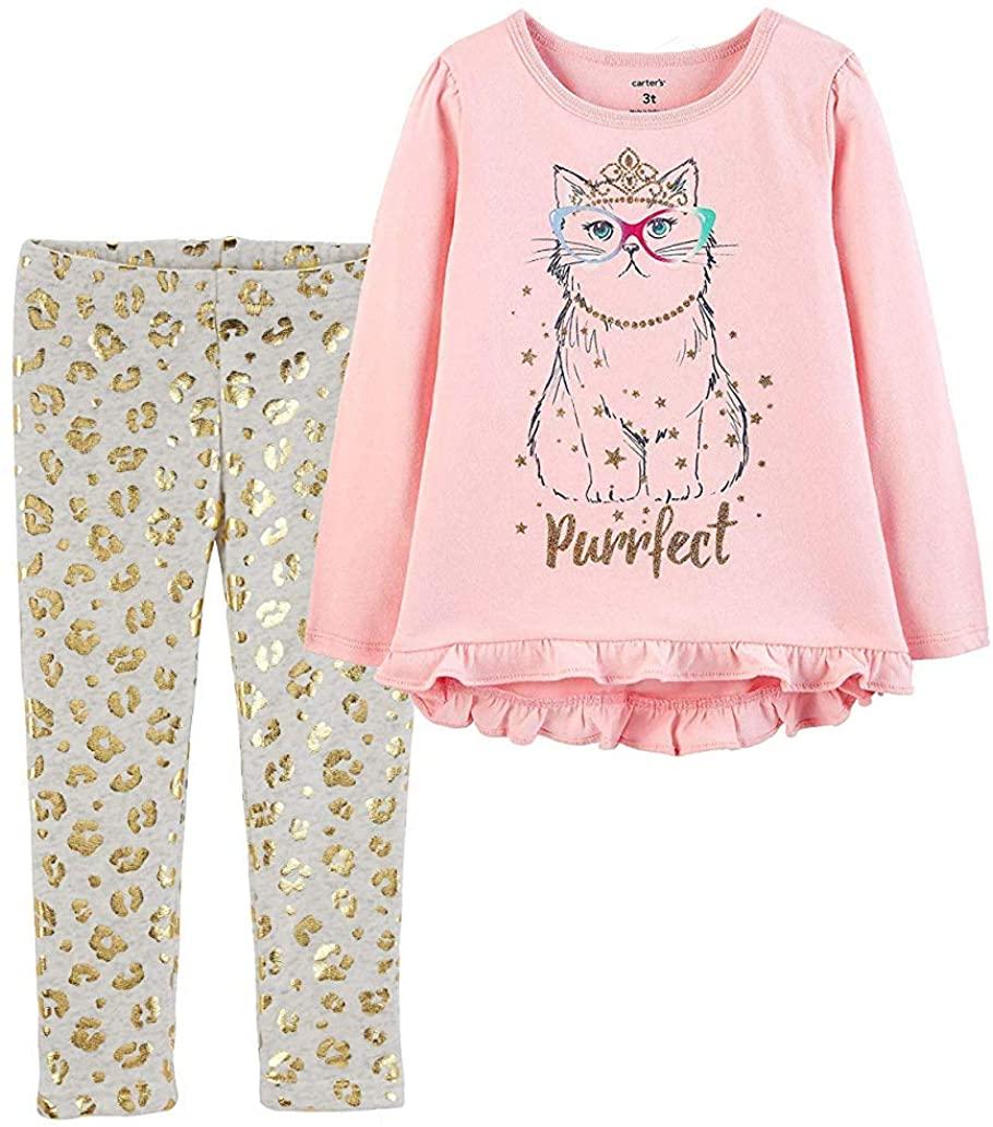 Carter's Girls Tunic and Legging 2 Piece Purrfect Princess Cat Set