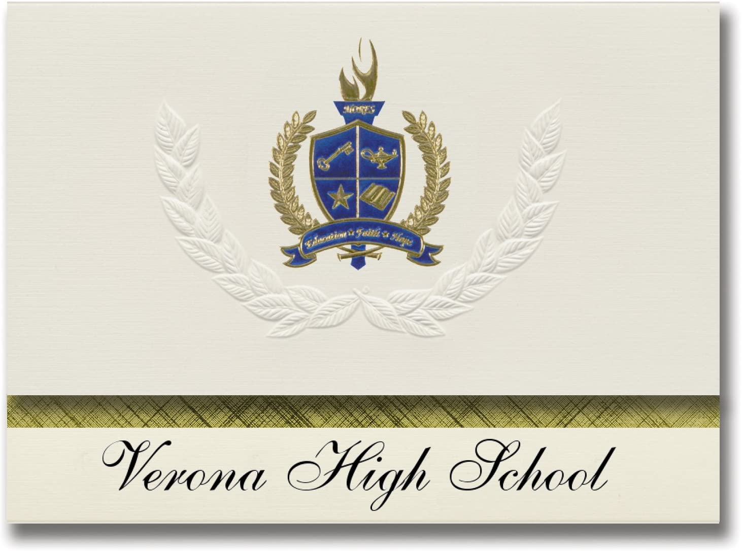 Signature Announcements Verona High School (Verona, NJ) Graduation Announcements, Presidential style, Basic package of 25 with Gold & Blue Metallic Foil seal