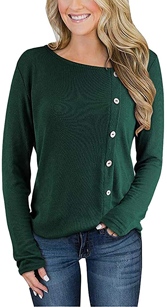 UOKNICE Womens Blouses, Winter Long Sleeve Casual Fashion Ladies Soft Button Solid Round Neck T-Shirts Pullovers Tops