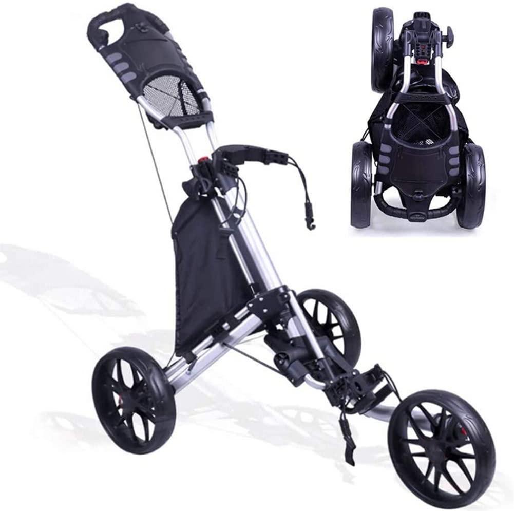 Foldable 3 Wheel Push Pull Golf Cart- Foot Brake, Adjustable Lightweight Golf Cart Cup Holder Trolley Swivel Steel Light, Enhances Effortless Mobility and Storage