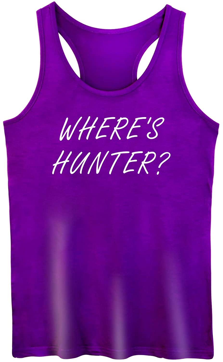 GROWYI Funny Workout Tank Tops Racerback for Women with Saying Where's Hunter Political Fitness Gym Sleeveless Shirt