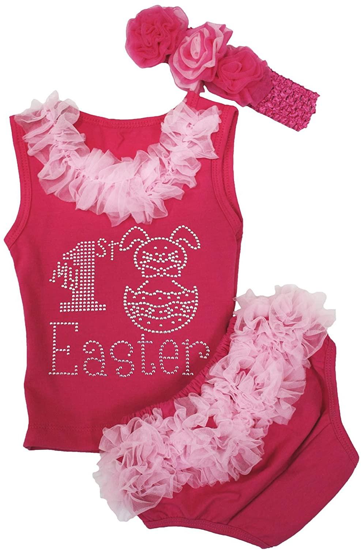 My 1st Easter Dress Rabbit Egg Hot Pink Shirt Hot Pink Bloomer Baby Set 3-12m