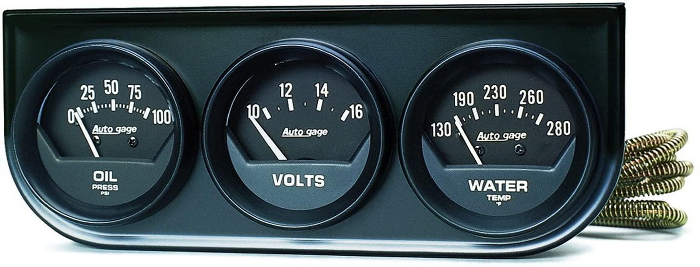 AUTO METER 2348 Autogage Black Console Oil/Volt/Water Gauge
