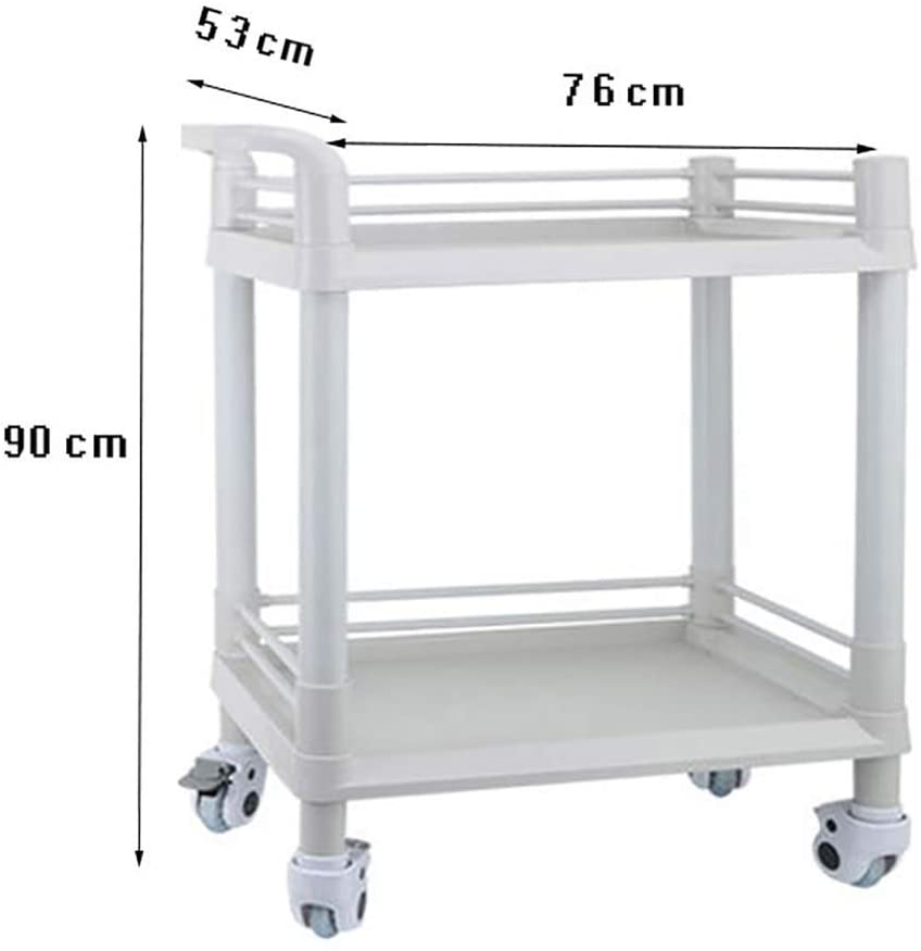 LHF Medical Supplies Rack,Hospital Trolley,Medical Cart Tool 2 Tier Beauty Salon Cart, Movable Medical Utility Trolley, 4 Mute Universal Wheels with Brake Spa Tool, Abs Storage Cart,L-76×53×90cm