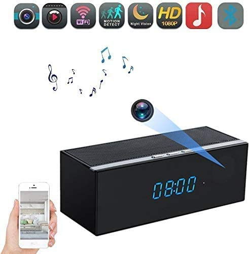 Hidden Camera Clock - FHD 1080P WiFi Wireless Spy Camera Clock with Night Vision and Motion Detective,160 Angle Nanny Cam Camera Alarm Clock for Home Security