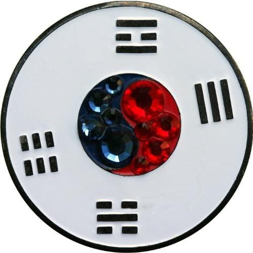 Swarovski South Korean Flag Golf Ball Marker with Matching Hat Clip