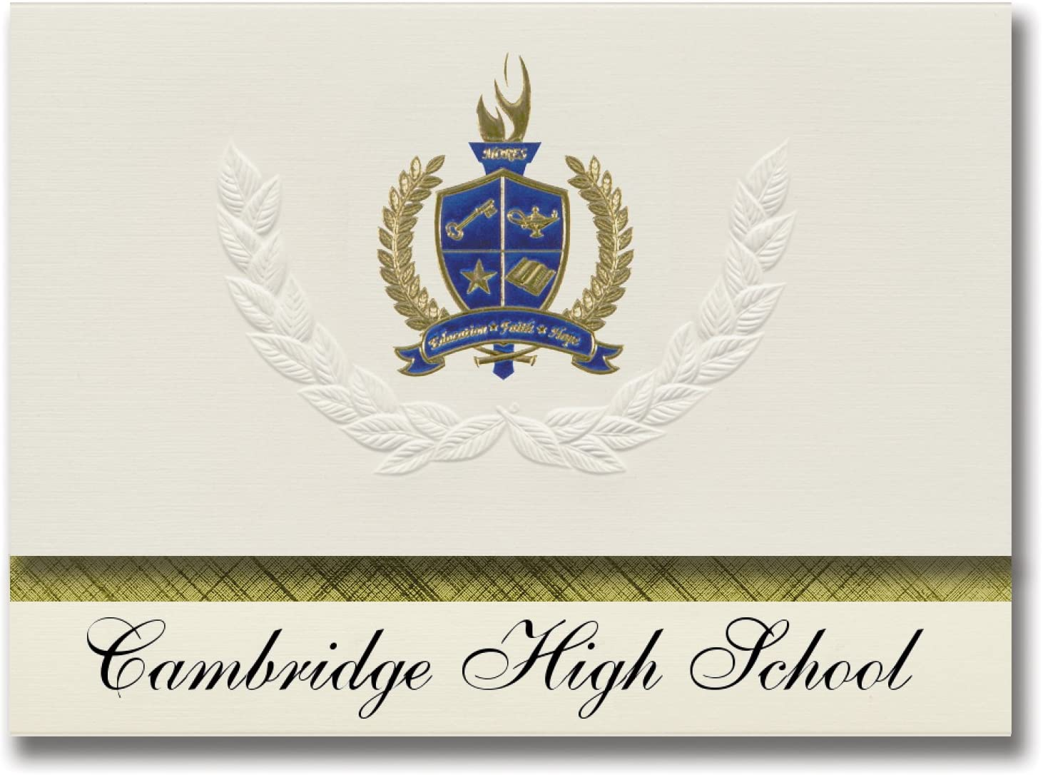 Signature Announcements Cambridge High School (Garden City, MI) Graduation Announcements, Presidential style, Basic package of 25 with Gold & Blue Metallic Foil seal