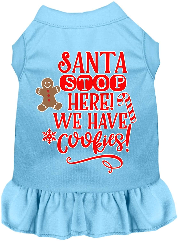 Mirage Pet Product Santa, We Have Cookies Screen Print Dog Dress Baby Blue XXXL