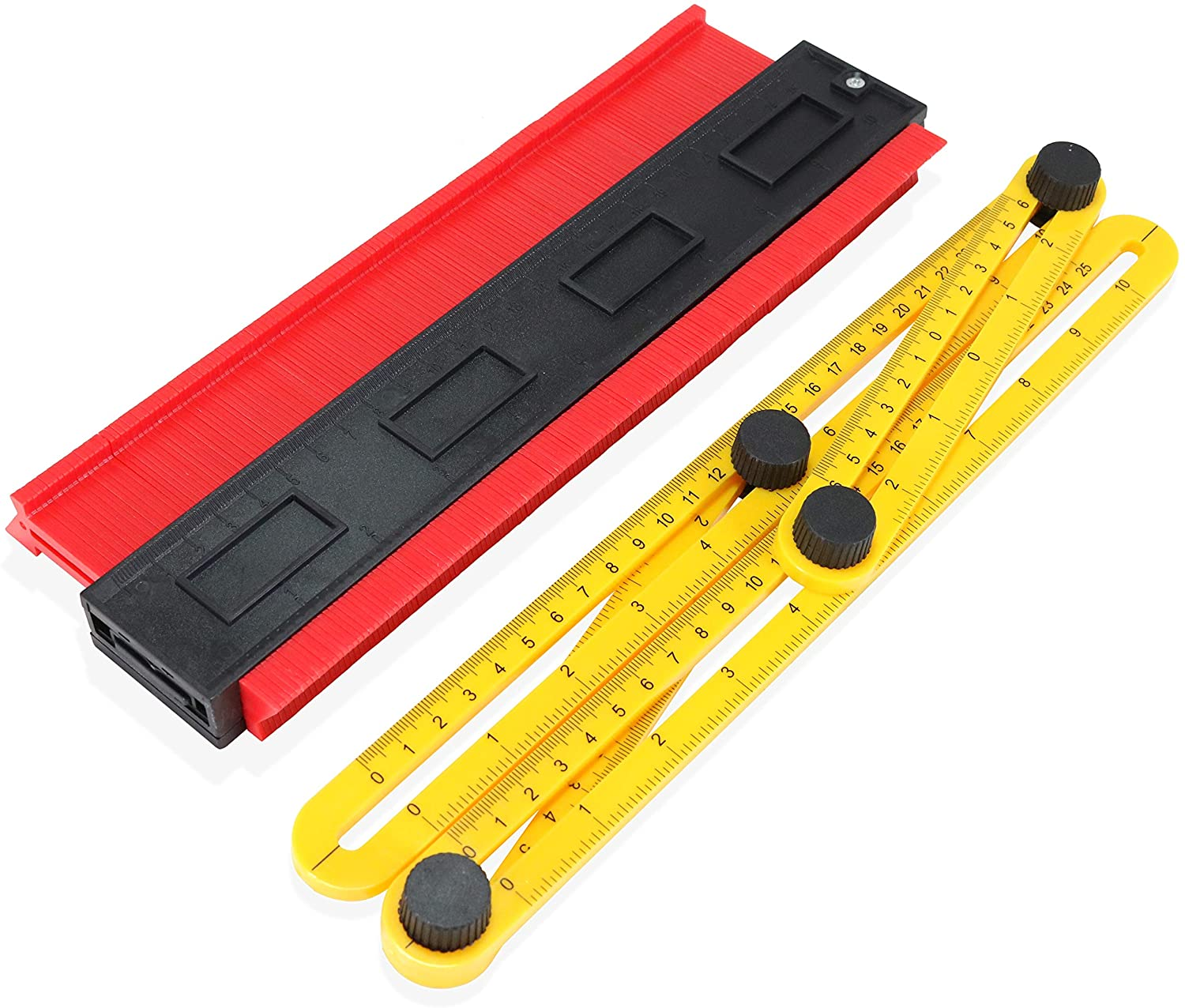 Gyamax 10 Inch Plastic Profile Gauge Contour Comb Duplicator Complete with Multi-function Adjustable Folding Measuring Multi Angle Ruler red