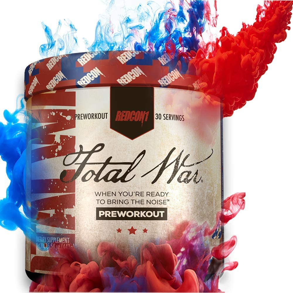 Redcon1 Total War - Pre Workout, 30 Servings, Boost Energy, Increase Endurance and Focus, Beta-Alanine, 350mg Caffeine, Citrulline Malate, Nitric Oxide Booster - Keto Friendly (Patriot)