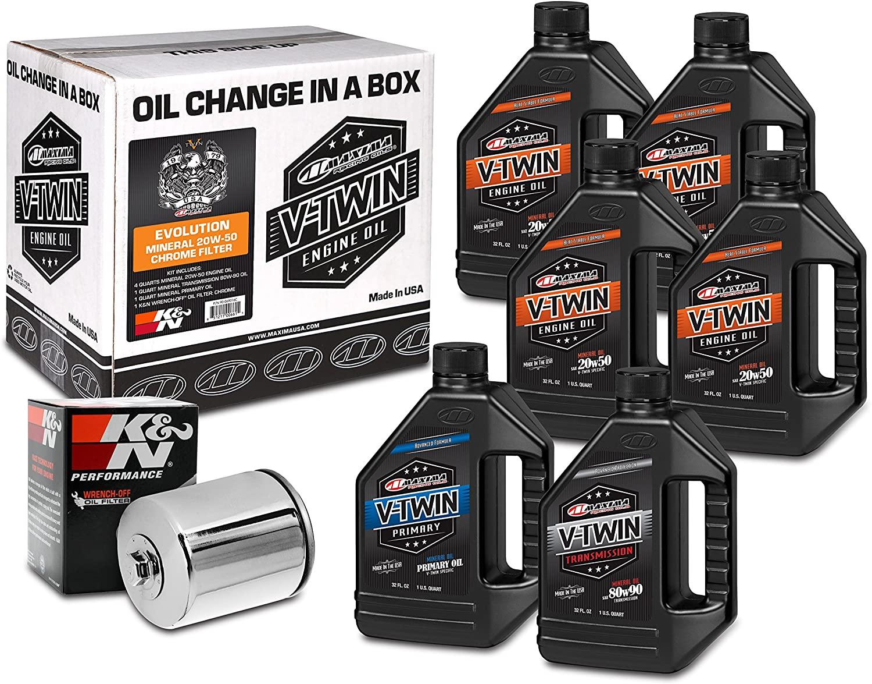 Maxima Racing Oils 90-069016C Chrome 90-069016C Evolution Mineral 20W-50 Chrome Filter Complete Oil Change Kit, 6 Quart, 1 Pack