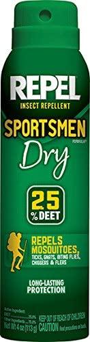 Repel Insect Repellent Sportsmen Formula Dry 25% DEET, Aerosol, 4-Ounce