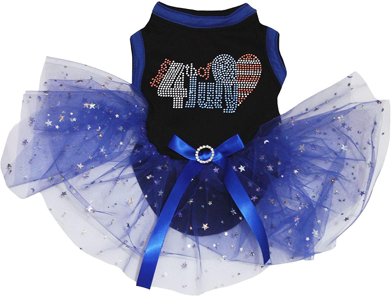 Petitebella Rhinestone 4th July Black Shirt Bling Blue Star Tutu Puppy Dog Dress