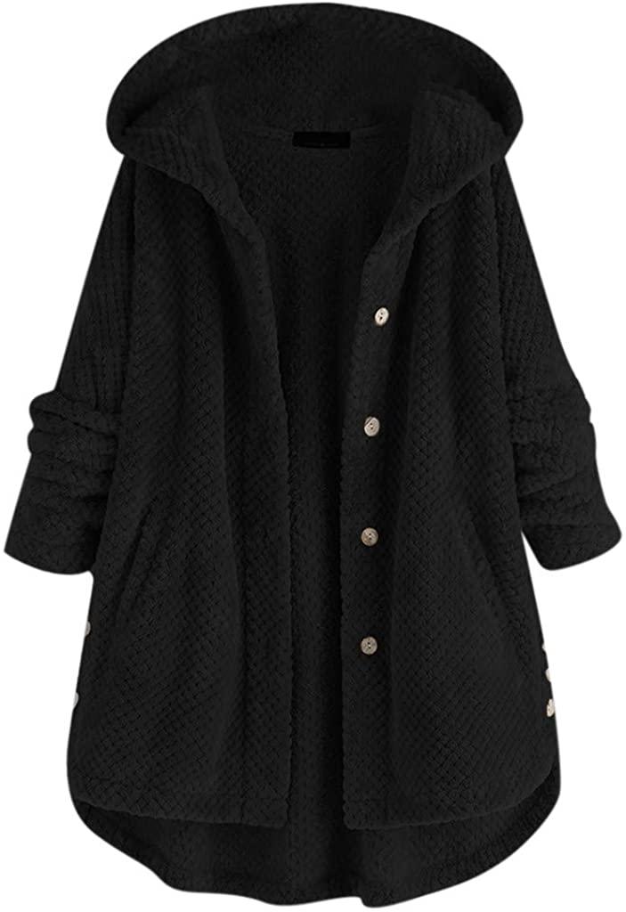 Hengshikeji Women's Fleece Coats Plus Size Solid Button Hooded Winter Coat Loose Warm Jackets Pocket Overcoat Outerwear