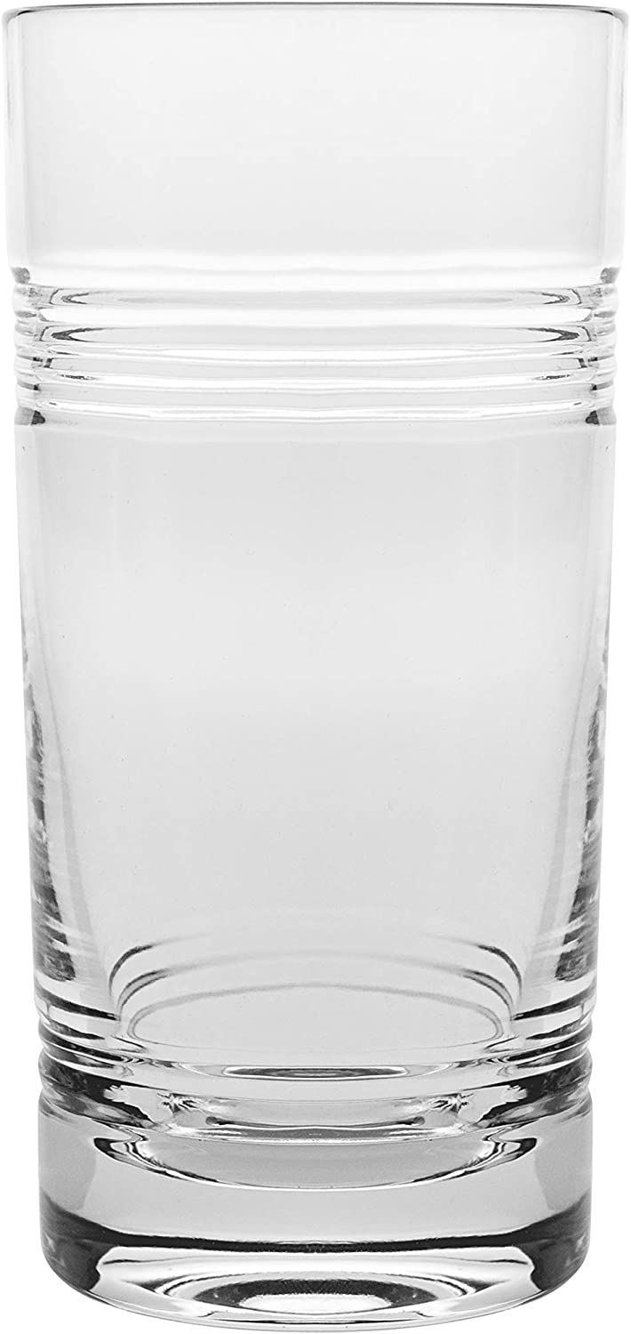 Barski - Set of 6 - Mouth Blown - Hand Cut - Crystal Tumbler Glasses - Highball- Hiball Tumblers - Each Glass is 16 oz. - Uniquely Designed - Made in Europe