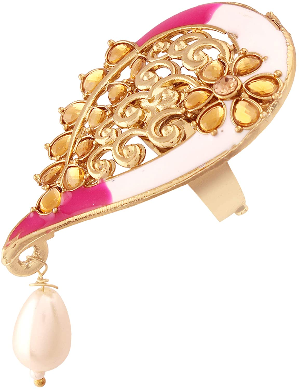 I Jewels Gold Plated Traditional Enamelled Kundan & Pearl Finger Ring for Women (FL58Pi)