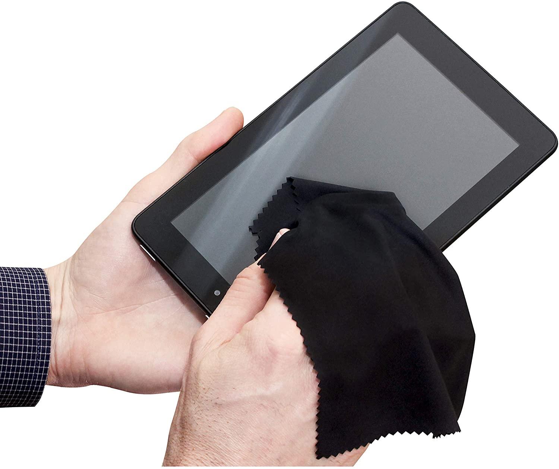 S&T INC. Microfiber Tech Cloths for iPhone, iPad, Android, smartphones, PC, Mac, Laptop screens, Black