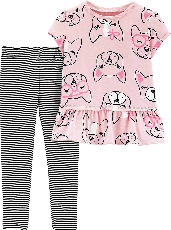 Carter's Baby Girls Puppy Dog Leggings Set 9 Months Pink/Black/White