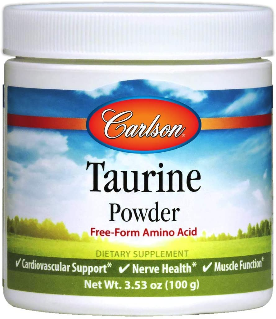 Carlson - Taurine Powder, Free-Form Amino Acid, Cardiovascular Support, Nerve Health & Muscle Function, 100 Grams