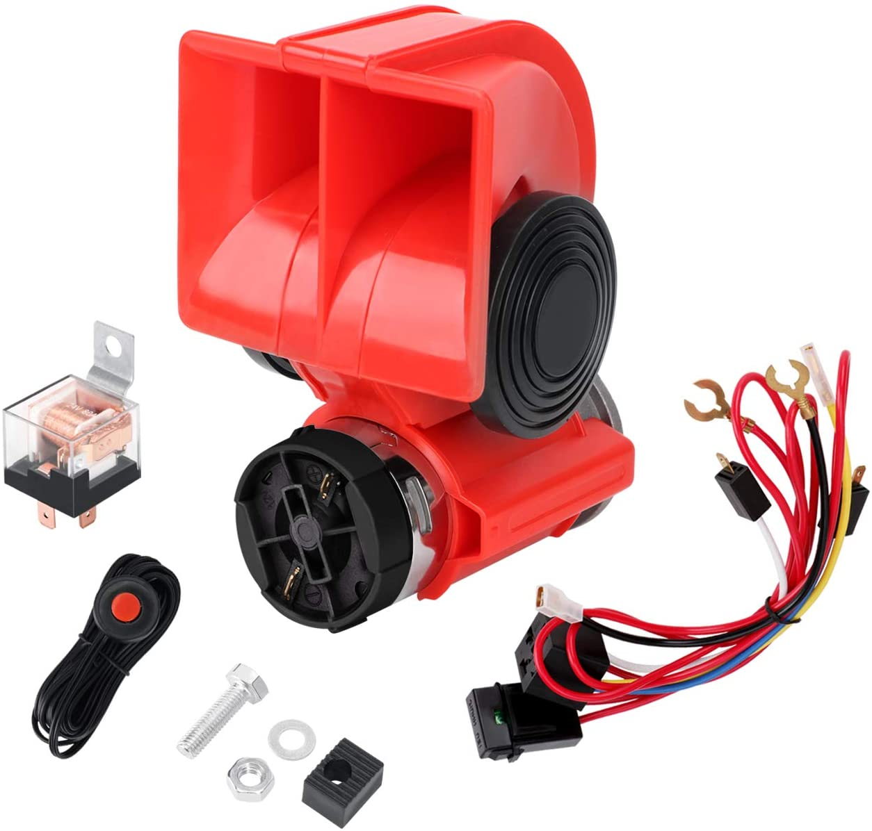 SEINECA 12V Car Air Horn Compact with Compressor Automotive Relay Mini Nautilus Super Loud Sanil Horn Kit for Truck Car Motorcycle(12V Red with Switch)