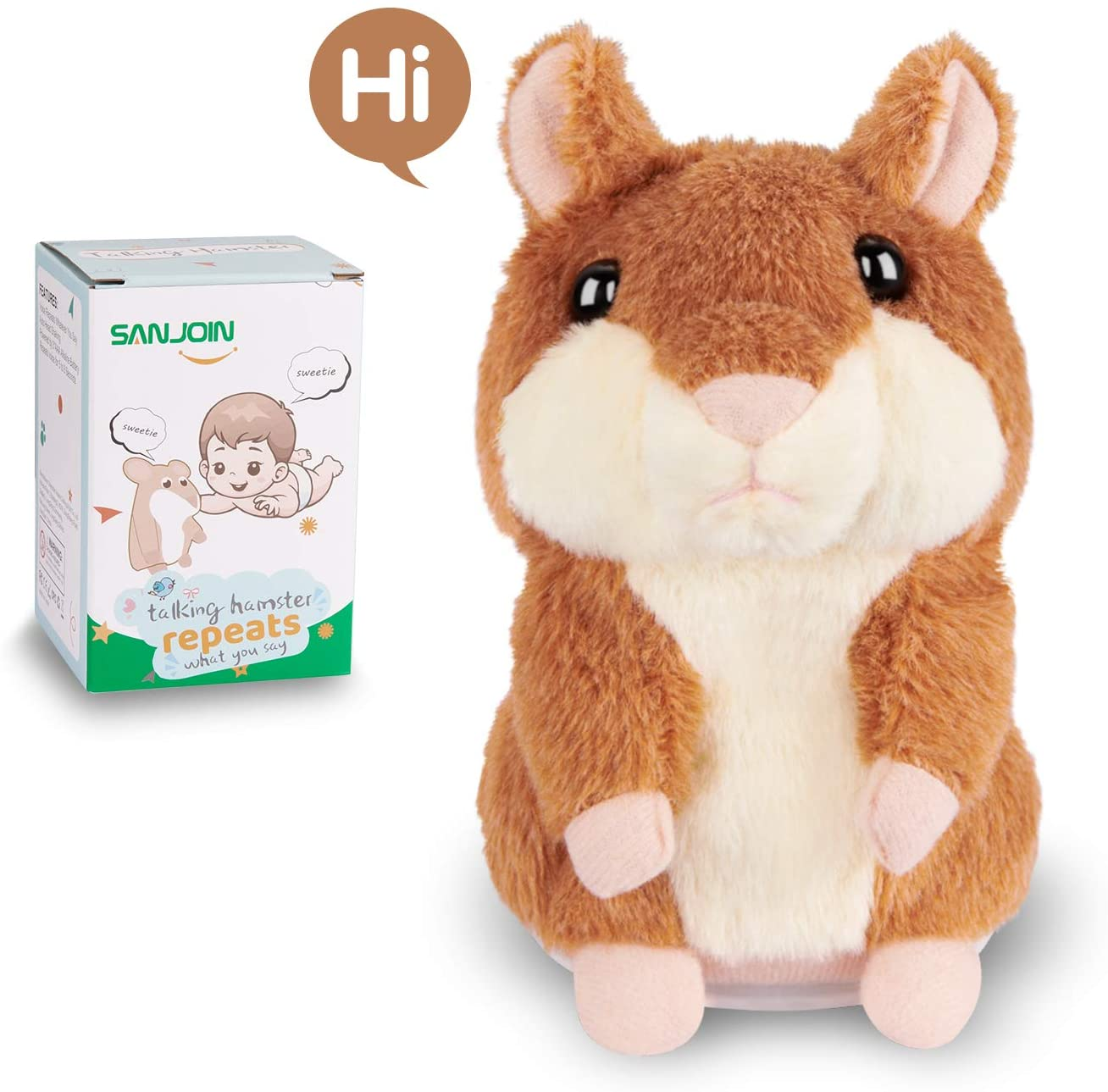 SANJOIN Kids Toys Talking Hamster Repeats What You Say, Talking Plush Interactive Toys Repeating Plush Animal Toy, Fun for 2,3 Year Old Kids, Baby, Child, Toddlers