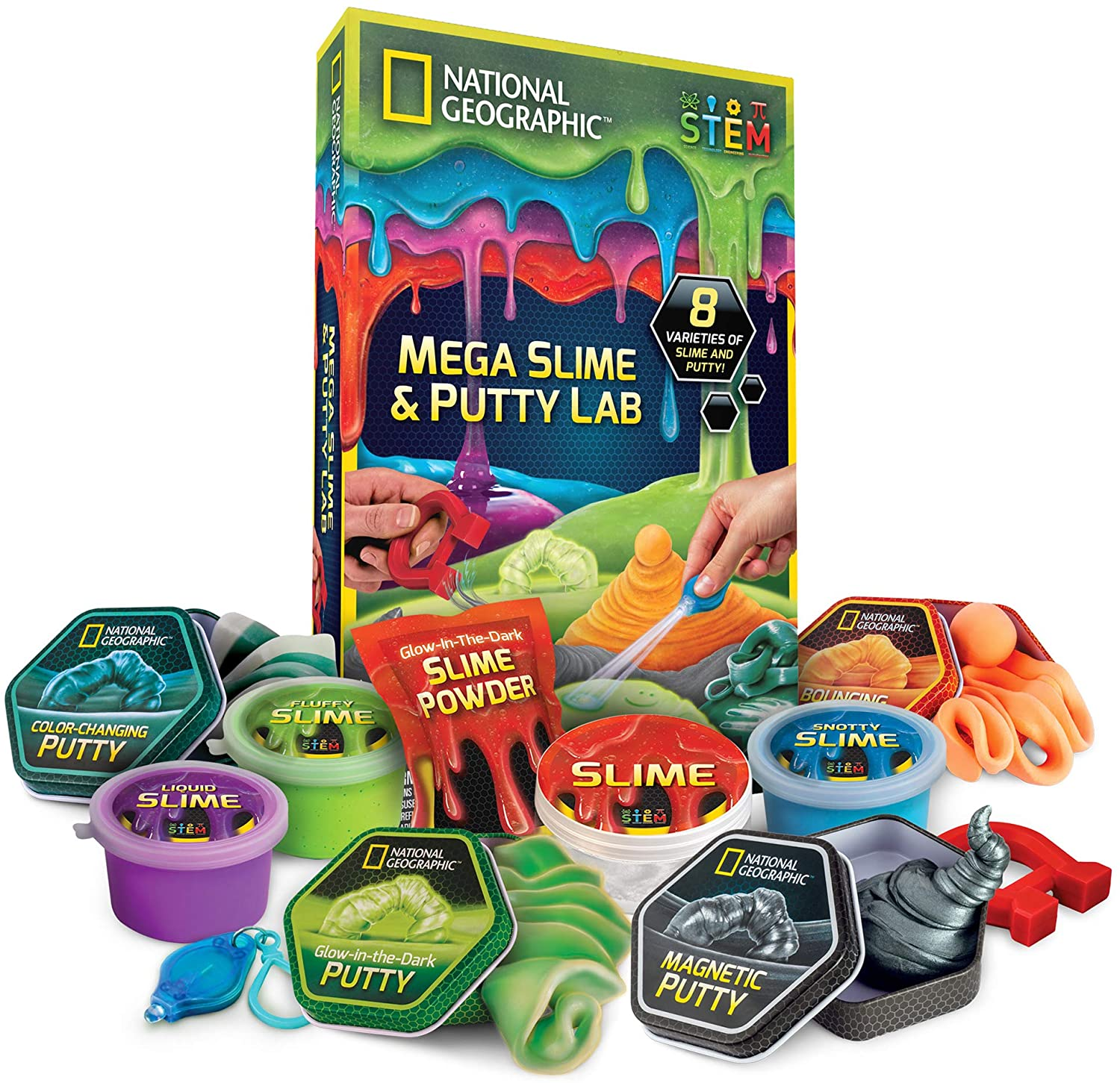 NATIONAL GEOGRAPHIC Mega Slime Kit & Putty Lab - 4 Types of Amazing Slime For Girls & Boys Plus 4 Types of Putty Including Magnetic Putty, Fluffy Slime & Glow-in-the-Dark Putty
