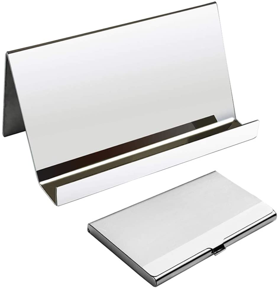 Business Card Organizer Rack,YuCool Desktop Cards Display Card Case +1 Stainless Steel Business Card Holder + Gray Cleaning Cloth for Office Business Using-Silver