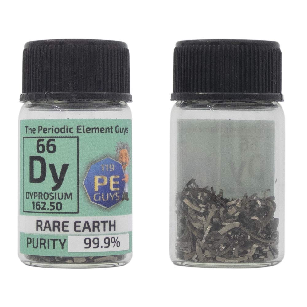 Dysprosium Turnings 2 Grams 99.9% Pure Rare Earth Element Sample in PEGUYS Element Bottle