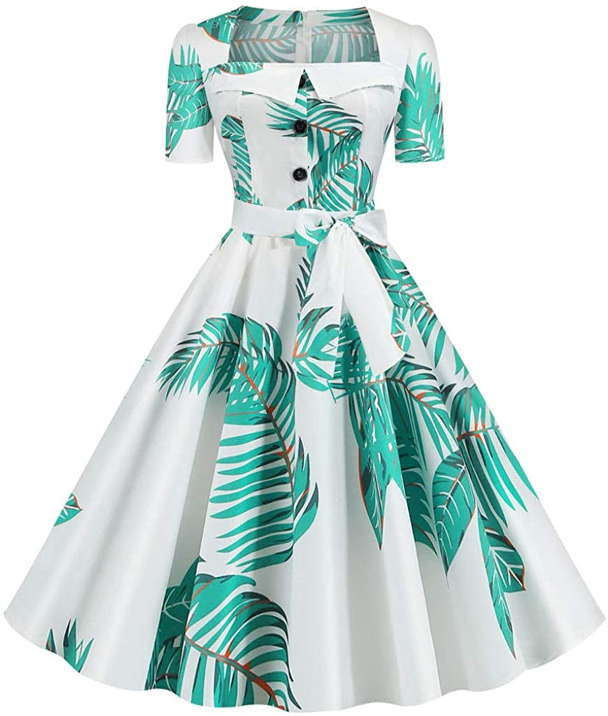 Women Vintage Summer Print Short Sleeve Casual Evening Party Prom Dress