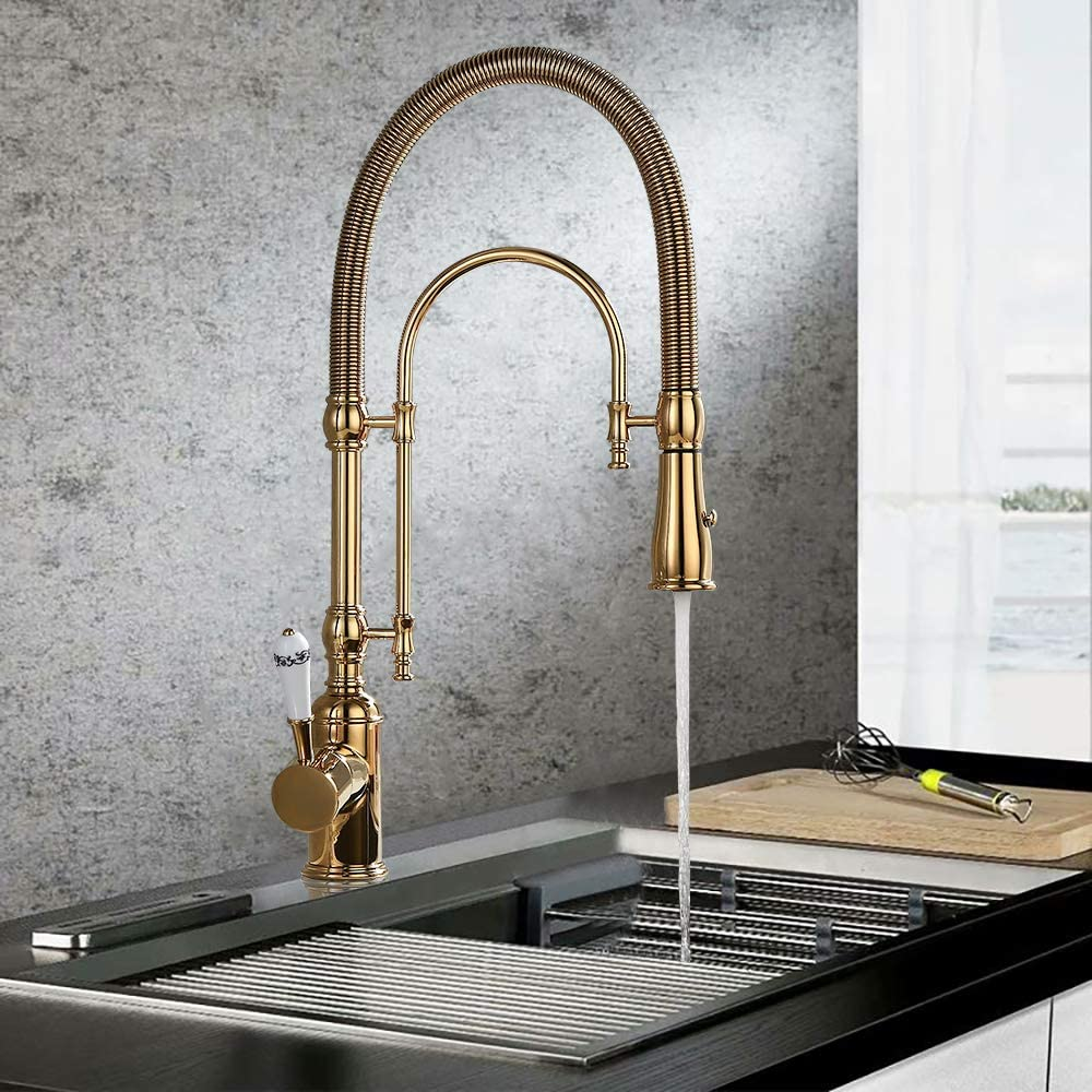 KunMai Single Handle High Arc Swiveling Dual-Mode Pull-Down Sprayer Kitchen Sink Faucet with Porcelain Handle in Polished Gold,Lead-Free Solid Brass cUPC Certified Pre Rinse Faucet